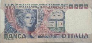 obverse: Banconote. Repubblica Italiana. 50.000 lire Volto di Donna. Dec. Min. 11-04-1980. Gig. BI79D. BB.