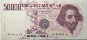 obverse: Banconote. Repubblica Italiana. 50.000 lire Bernini. 1°tipo. Gig. BI80C. Piccolissimo strapetto in alto e diverse pieghe stirate. BB.