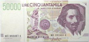 obverse: Banconote. Repubblica Italiana. 50.000 lire Bernini. 2°tipo. 1995. Gig. BI 81C. FDS.