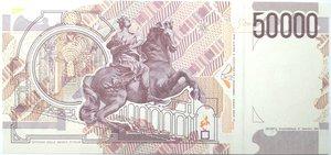 reverse: Banconote. Repubblica Italiana. 50.000 lire Bernini. 2°tipo. 1995. Gig. BI 81C. FDS.