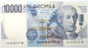 obverse: Banconote. Repubblica Italiana. 10.000 lire Alessandro Volta. 1998. Gig. BI76K. FDS.