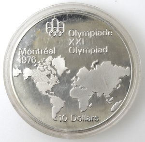 reverse: Monete Estere. Canada.Elisabetta II.10 Dollari 1973. Olimpiadi di Montreal 1976. Mappa del mondo. AG 925. Km. 86.1. Peso gr. 48,60. Diametro mm. 45.FDC.
