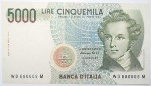 obverse: Banconote. Repubblica Italiana. 5.000 lire. Vincenzo Bellini. 1996. Gig. BI69D. qSPL.
