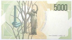 reverse: Banconote. Repubblica Italiana. 5.000 lire. Vincenzo Bellini. 1996. Gig. BI69D. qSPL.