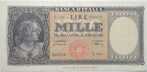 obverse: Banconote. Repubblica italiana. 1.000 lire Italia Ornata di Perle (Medusa). Dec. Min.  10-02-1948. Gig. BI54B. qBB. Pieghe stirate e foro nell ovale.