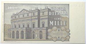 reverse: Banconote. Repubblica Italiana. 1.000 lire Giuseppe Verdi 2° tipo. Dec. Min. 25-03-1969. Gig. BI56A. Banconota con piega centrale altrimenti FDS.
