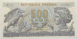 obverse: Banconote. Repubblica Italiana. 500 lire Aretusa. Dec. Min. 20-06-66. Gig. BS25A. qSPL.