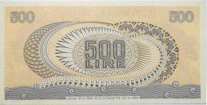 reverse: Banconote. Repubblica Italiana. 500 lire Aretusa. Dec. Min. 20-06-66. Gig. BS25A. qSPL.