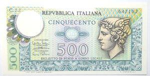 obverse: Banconote. Repubblica Italiana. 500 lire Mercurio. Dec. Min. 14-02-1974. Gig. BS26A. FDS.