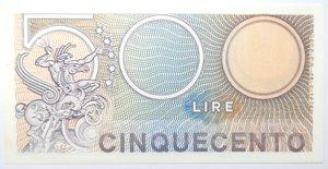 reverse: Banconote. Repubblica Italiana. 500 lire Mercurio. Dec. Min. 14-02-1974. Gig. BS26A. FDS.