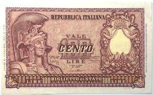 obverse: Banconote. Repubblica Italiana. 100 lire Italia Elmata. Dec. Min. 31-12-1951. Gig. BS24A. BB+/qSPL.