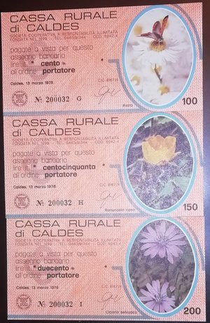 obverse: Miniassegni. Cassa Rurale di Caldes. Serie figurativa Fiori arancio completa di 6 pezzi da 100, 150, 200, 250, 300 e 350 Lire. Al portatore. 13-03-1978. FDS.