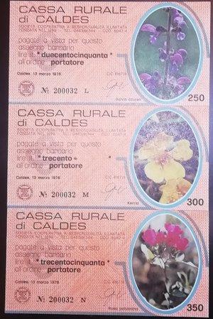 reverse: Miniassegni. Cassa Rurale di Caldes. Serie figurativa Fiori arancio completa di 6 pezzi da 100, 150, 200, 250, 300 e 350 Lire. Al portatore. 13-03-1978. FDS.