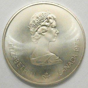 obverse: Monete Estere. Canada.Elisabetta II.10 Dollari 1975. Olimpiadi di Montreal 1976. Canottaggio. AG 925. Km. 104. Peso gr. 48,60. Diametro mm. 45.FDC.