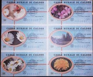 obverse: Miniassegni. Cassa Rurale di Caldes. Serie figurativa Fiori Foglietto completo di 6 pezzi da 100, 150, 200, 250, 300 e 350 Lire. Al portatore. 13-03-1978. Numero di serie 000000. FDS.
