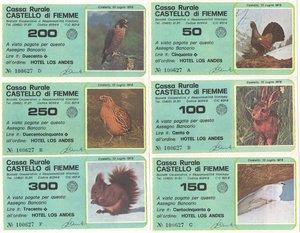 obverse: Miniassegni. Cassa Rurale Castello di Fiemme. Serie figurativa Animali completa di 6 pezzi da 50, 100, 150, 200, 250 e 300 Lire. Hotel Los Andes. 10-07-1978. FDS.
