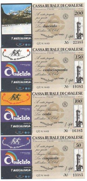 obverse: Miniassegni. Cassa Rurale di Cavalese. Serie figurativa Marcialonga completa di 4 pezzi da 50, 100, 150 e 200 Lire. Sci Club. 29-01-1978. FDS.