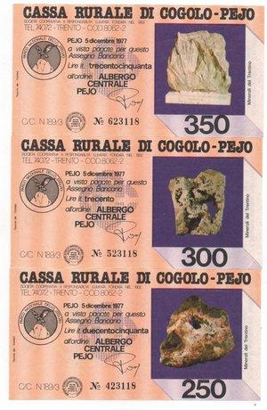 obverse: Miniassegni. Cassa Rurale di Cogolo - Pejo. Serie figurativa Minerali del Trentino. Completa di 6 pezzi da 100, 150, 200, 250, 300 e 350 Lire. Albergo centrale Pejo. 05-12-1977. FDS.