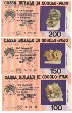 reverse: Miniassegni. Cassa Rurale di Cogolo - Pejo. Serie figurativa Minerali del Trentino. Completa di 6 pezzi da 100, 150, 200, 250, 300 e 350 Lire. Albergo centrale Pejo. 05-12-1977. FDS.
