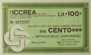 obverse: Miniassegni. ICCREA Istituto di Credito delle Casse Rurali e Artigiane Spa. Lire 100. Martinuzzi Nello - Campi Bisenzio. 03-01-1977. FDS.