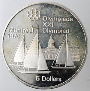 reverse: Monete Estere. Canada.Elisabetta II.5 Dollari 1973. Olimpiadi di Montreal 1976. Vela. AG 925. Km. 84. Peso gr. 24,21. Diametro mm. 38.qFDC.