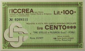 obverse: Miniassegni. ICCREA Istituto di Credito delle Casse Rurali e Artigiane Spa. Lire 100.