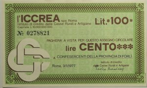 obverse: Miniassegni. ICCREA Istituto di Credito delle Casse Rurali e Artigiane Spa. Lire 100. Confesercenti della provincia di Forlì. 03-01-1977. FDS.