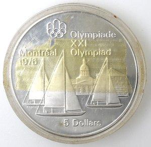 reverse: Monete Estere. Canada.Elisabetta II.5 Dollari 1973. Vele. Olimpiadi di Montreal 1976. AG 925. Km. 85. Peso gr. 24,37. Diametro mm. 38.FDC.