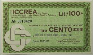 obverse: Miniassegni. ICCREA Istituto di Credito delle Casse Rurali e Artigiane Spa. Lire 100. Hotel Jok di Vitulio Benito - Cesuna - (VI). 14-01-1977. FDS.