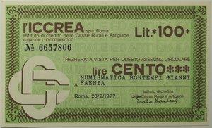 obverse: Miniassegni. ICCREA Istituto di Credito delle Casse Rurali e Artigiane Spa. Lire 100. Numismatica Bontempi Gianni Faenza. 28-02-1977. FDS.