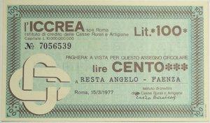 obverse: Miniassegni. ICCREA Istituto di Credito delle Casse Rurali e Artigiane Spa. Lire 100. Resta Angelo - Faenza. 15-03-1977. Di inconsueto colore celeste anziché verde. FDS.