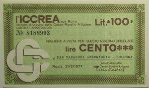 obverse: Miniassegni. ICCREA Istituto di Credito delle Casse Rurali e Artigiane Spa. Lire 100. Bar Tabacchi