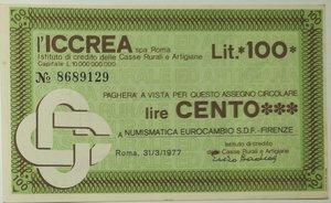 obverse: Miniassegni. ICCREA Istituto di Credito delle Casse Rurali e Artigiane Spa. Lire 100. Numismatica Eurocambio S.D.F. - Firenze. 31-03-1977. FDS.