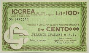 obverse: Miniassegni. ICCREA Istituto di Credito delle Casse Rurali e Artigiane Spa. Lire 100. Telerie Spadari S.r.l.. 20-04-1977. FDS.