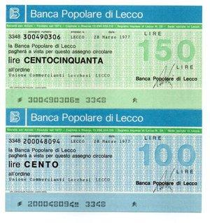 obverse: Miniassegni. Popolare di Lecco. Serie completa di 2 pezzi da 100 e 150 Lire. Unione Commercianti Lecchesi - Lecco. 28/03/1977. FDS.