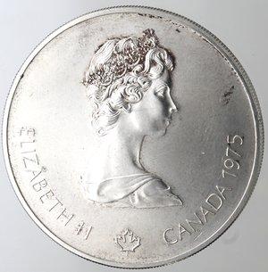 obverse: Monete Estere. Canada.Elisabetta II.5 Dollari 1975. Olimpiadi di Montreal 1976. Tuffi. AG 925. Km. 101. Peso gr. 24,66. Diametro mm. 38.qFDC.