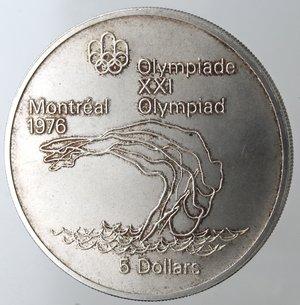 reverse: Monete Estere. Canada.Elisabetta II.5 Dollari 1975. Olimpiadi di Montreal 1976. Tuffi. AG 925. Km. 101. Peso gr. 24,66. Diametro mm. 38.qFDC.