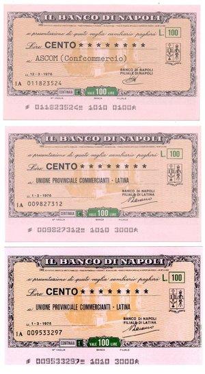 reverse: Miniassegni. Banco di Napoli. 6 pezzi da Lire 100. Date e ditte varie. FDS.