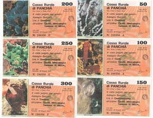 obverse: Miniassegni. Cassa Rurale di Panchià. Serie figurativa Minerali completa di 6 pezzi da 50, 100, 150, 200, 250 e 300 Lire. Circolo Mineralogico Torinese