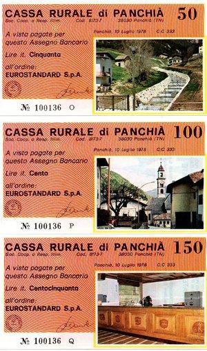obverse: Miniassegni. Cassa Rurale di Panchià. Serie figurativa Vedute completa di 6 pezzi da 50, 100, 150, 200, 250 e 300 Lire. Eurostandard. 10-07-1978. FDS.