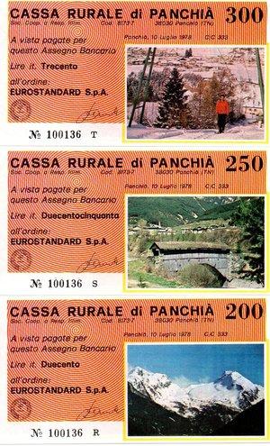 reverse: Miniassegni. Cassa Rurale di Panchià. Serie figurativa Vedute completa di 6 pezzi da 50, 100, 150, 200, 250 e 300 Lire. Eurostandard. 10-07-1978. FDS.