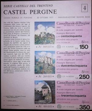 reverse: Miniassegni. Cassa Rurale di Pergine. Due Foglietti Serie figurativa Castel Pergine. Completa di 6 valori da 100, 150, 200, 250, 300 e 350 Lire. All ordine mio proprio. 30-10-1977. FDS.