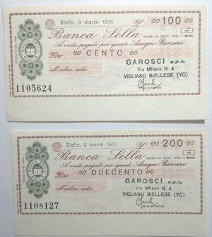 obverse: Miniassegni. Banca Sella. Serie di 2 pezzi da 100 e 200 Lire. Garosci Spa Biella. 08-03-1976. FDS.