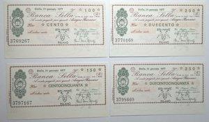 obverse: Miniassegni. Banca Sella. Serie di 4 pezzi da 100, 150, 200 e 250 Lire. Hotel Piemonte Milano. 20-01-1977. FDS.