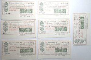obverse: Miniassegni. Banca Sella. Serie di 7 pezzi da 50, 100, 150, 200, 250, 300 e 350 Lire. Filatelia Numismatica Biellese. 09-12-1976. FDS.