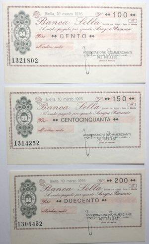 obverse: Miniassegni. Banca Sella. Serie di 3 pezzi da 100, 150 e 200 Lire. Associazione Commercianti del Biellese. 10-03-1976. FDS.