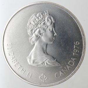 obverse: Monete Estere. Canada.Elisabetta II.5 Dollari 1976. Olimpiadi di Montreal 1976. Pugilato. AG 925. Km. 108. Peso gr. 24,60. Diametro mm. 38.FDC.