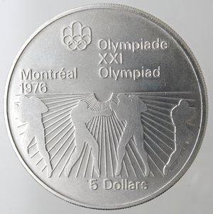 reverse: Monete Estere. Canada.Elisabetta II.5 Dollari 1976. Olimpiadi di Montreal 1976. Pugilato. AG 925. Km. 108. Peso gr. 24,60. Diametro mm. 38.FDC.
