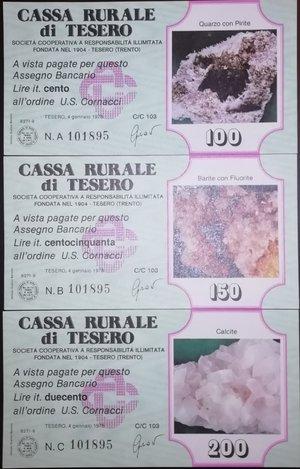 obverse: Miniassegni. Cassa Rurale di Tesero. Serie figurativa Minerali completa di 6 pezzi da 100, 150, 200, 250, 300 e 350 Lire. Lire. U.S. Cornacci. 04-01-1978. FDS.