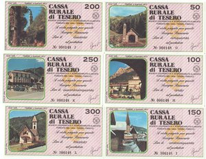 obverse: Miniassegni. Cassa Rurale di Tesero. Serie figurativa Paesaggi completa di 6 pezzi da 50, 100, 150, 200, 250 e 300 Lire. Al portatore. 02-12-1977. FDS.